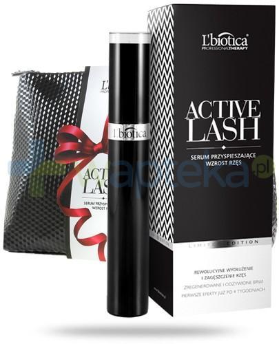 Lbiotica Active Lash ZESTAW serum pobudzające wzrost rzęs i brwi 3,5 ml + kosmetyczka