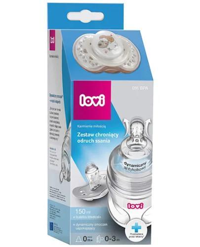 Lovi Medical+ zestaw chroniący odruch ssania, butelka 0m+ mini 150 ml + dynamiczny smoczek uspokajający 0-3m 1 sztuka