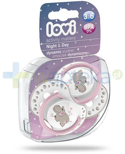 Lovi Night&Day dynamiczny smoczek silikonowy dla dzieci 3-6mc 2 sztuki [22/810Girl]