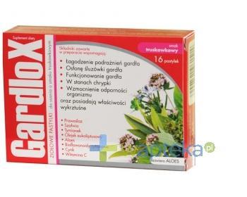 Gardlox pastylki ziołowe o smaku truskawkowym 16 sztuk