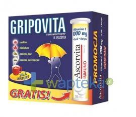 GRIPOVITA 15 saszetek + ASCORVITA IMMUNO 20 tabletek musujących