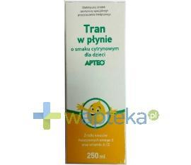 Tran smak cytrynowy dla dzieci 250 ml APTEO