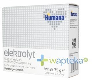 HUMANA Elektrolit o smaku koperkowym 75 g +  HUMANA 2 28g GRATIS!
