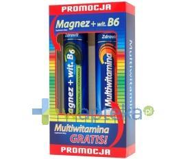 ZDROVIT Magnezz Witaminą B6, 24 tabletki musujące + Multiwitamina, 20 tabletek musujących