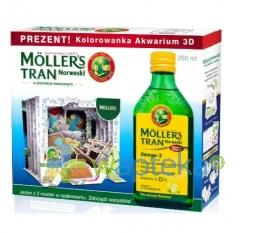 Mollers Tran Norweski cytrynowy 250ml + Kolorowanka Akwarium 3D