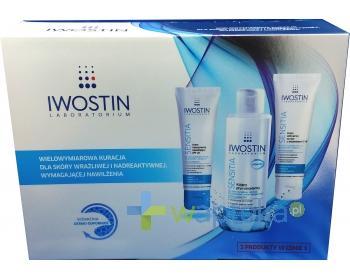 IWOSTIN SENSITIA Zestaw Krem intensywnie nawilżający SPF20 50ml + Krem odżywczy na noc z witaminami C+E 50ml + Kojący płyn micelarny 215ml