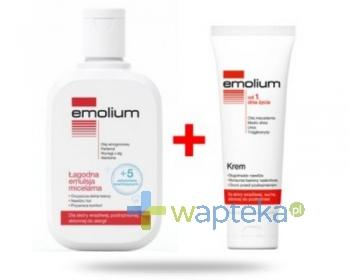 EMOLIUM Zestaw Łagodna emulsja micelarna 250ml + Krem Emolium 75ml