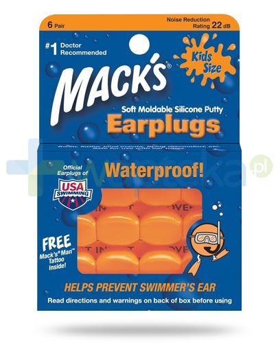 Mack's Earplugs wodoodporne silikonowe zatyczki do uszu dla dzieci 6 par