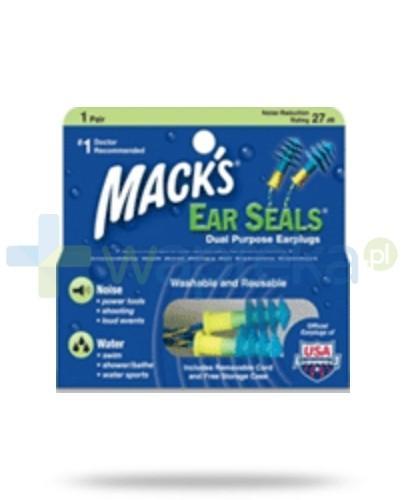 Mack's Zatyczki do uszu wodoodporne wielokrotnego użytku niebieskie – 1 para z pojemnikiem i sznurkiem (Ear Seals®)