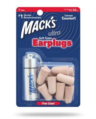 Mack's Zatyczki do uszu piankowe , beżowe z pojemnikiem podróżnym – 7 par (Ultra)