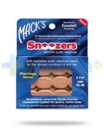 Mack's Zatyczki do uszu silikonowe beżowe – 6 par w plastikowym pojemniku (Snoozers™)