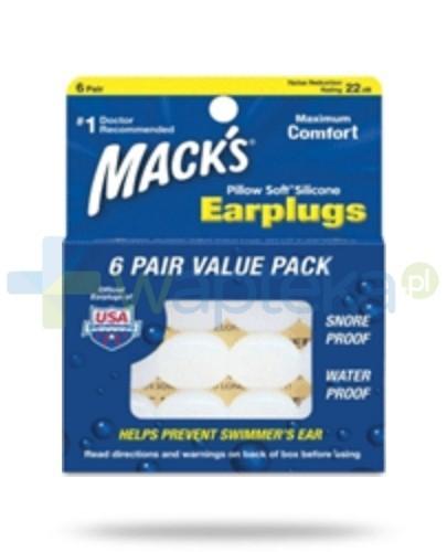 Mack's Zatyczki do uszu silikonowe wodoodporne białe – 6 par w plastikowym pojemniku (Pillow Soft®)