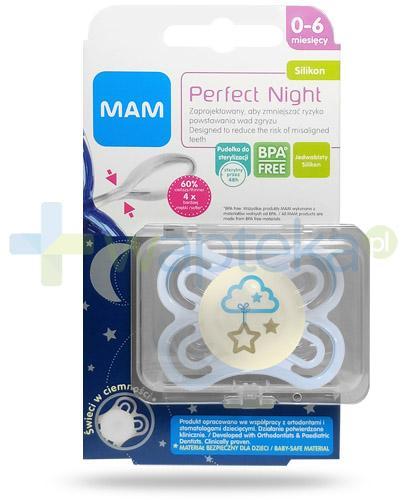 MAM Perfect Night smoczek silikonowy 0-6m+ świeci w ciemności 1 sztuka [25515]