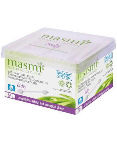 Masmi Baby patyczki higieniczne z ograniczkiem do uszu dla niemowląt i dzieci 100% bawełny organicznej 56 sztuk