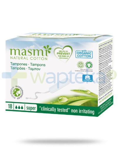 Masmi Organiczne tampony Super bez aplikatora 18 sztuk - 100% bawełny organicznej