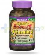 Bluebonnet Nutrition Super Earth Rainforest Animalz, Witamina C dla dzieci od lat 4, 90 tabletek do ssania w kształcie zwierząt, smak pomarańczowy