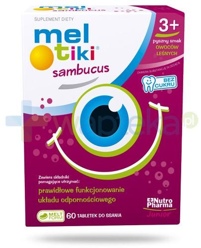 Meltiki Sambucus o smaku owoców leśnych 60 tabletek + Meltiki 3 tabl. do ssania [GRATIS]