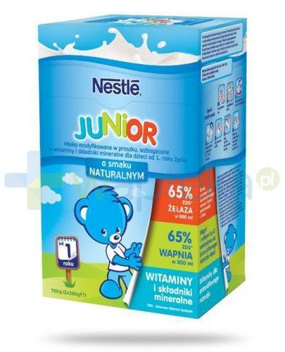 Mleko Nestlé Junior o smaku naturalnym Mleko modyfikowane w proszku wzbogacone w witaminy i składniki mineralne dla dzieci po 1 roku 2x 350 g