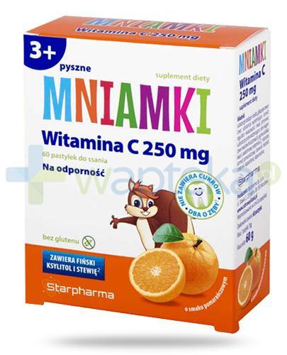 Mniamki witamina C 250 pastylki o smaku pomarańczowym dla dzieci 3+ 60 sztuk