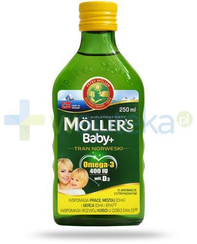 Mollers Baby+ Tran Norweski Omega-3 400 smak cytrynowy 250 ml + szczoteczka [ZESTAW]