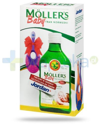 Mollers Baby Tran Norweski smak cytrynowy 250 ml + Jordan Step-1 szczoteczka do zębów dla dzieci 0-2 lata [ZESTAW]