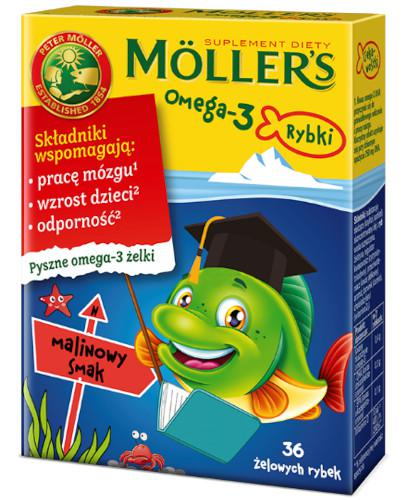 Mollers Omega-3 Rybki, żelki o smaku malinowym 36 sztuk