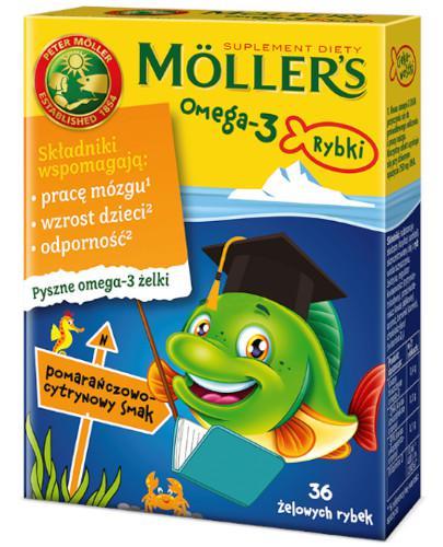 Mollers Omega-3 Rybki, żelki o smaku pomarańczowo-cytrynowym 36 sztuk