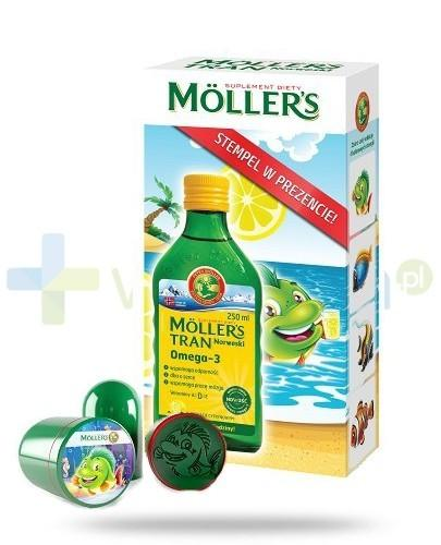 MOLLERS Tran norweski cytrynowy płyn 250ml + stempelek GRATIS