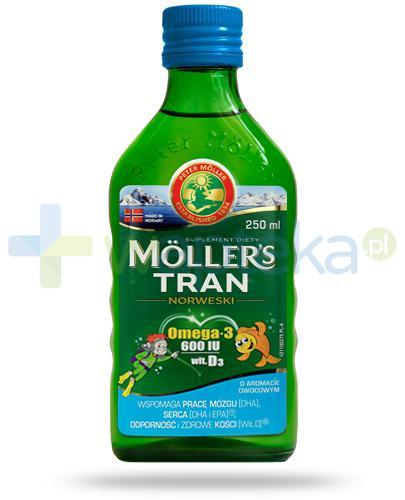 Mollers Tran Norweski Omega-3 600 smak owocowy 250 ml + piórnik [ZESTAW]