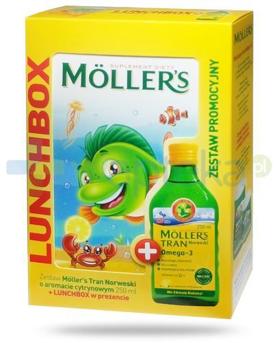 Mollers Tran Norweski Omega-3 smak cytrynowy 250 ml + Lunchbox [ZESTAW]