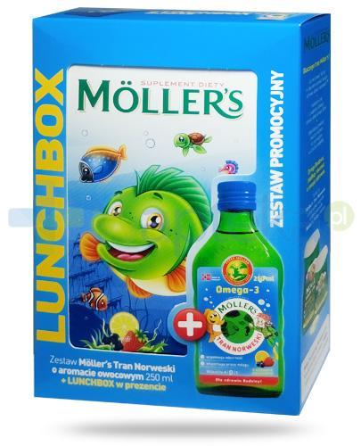 Mollers Tran Norweski Omega-3 smak owocowy 250 ml + Lunchbox [ZESTAW]