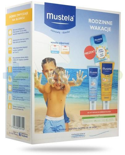 Mustela Bebe Enfant Rodzinne wakacje spray przeciwsłoneczny SPF50+ 200 ml + spray po opalaniu 125 ml + karty do gry [ZESTAW]