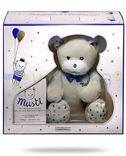 Mustela Bebe Musti Blue woda pielęgnacyjna perfumowana 50 ml + miś maskotka [ZESTAW]