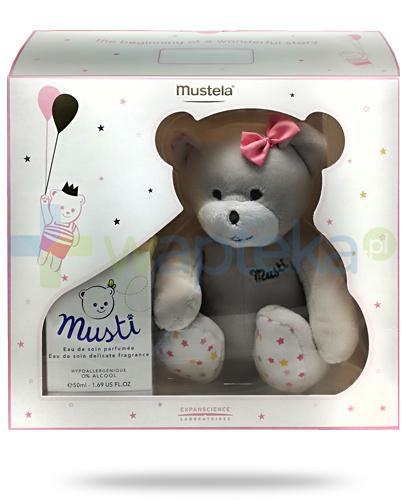 Mustela Bebe Musti Pink woda pielęgnacyjna perfumowana 50 ml + miś maskotka [ZESTAW]