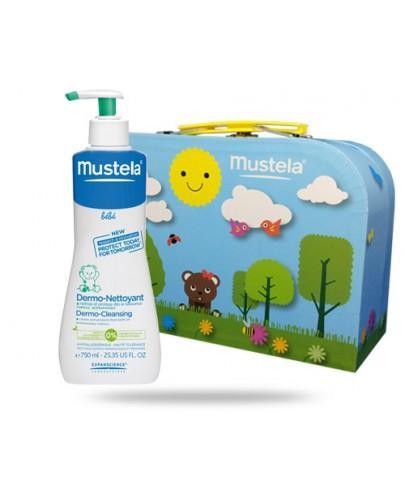 Mustela Bebe żel do mycia włosów i ciała od 1-go dnia życia dla dzieci 750 ml + kuferek GRATIS
