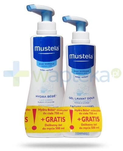 Mustela Hydra Bebe mleczko do ciała skóra normalna 750 ml + Mustela Hydra Bebe delikatny żel do mycia 500 ml