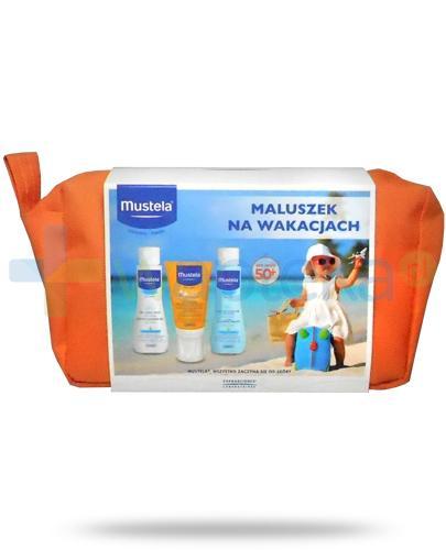 Mustela Maluszek na wakacjach 2018 żel do mycia 100 ml + woda oczyszczająca bez spłukiwania 100 ml + mleczko przeciwsłoneczne SPF50+ 40 ml [ZESTAW]