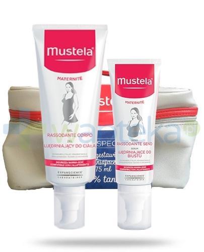 Mustela Maternite żel ujędrniający 200 ml + serum do biustu 75 ml + kosmetyczka [ZESTAW]