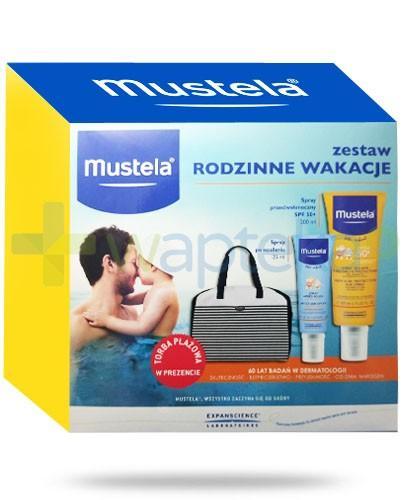 Mustela ZESTAW Rodzinne Wakacje spray przeciwsłoneczny SPF50+ 200 ml + spray po opalaniu 125 ml + torba plażowa