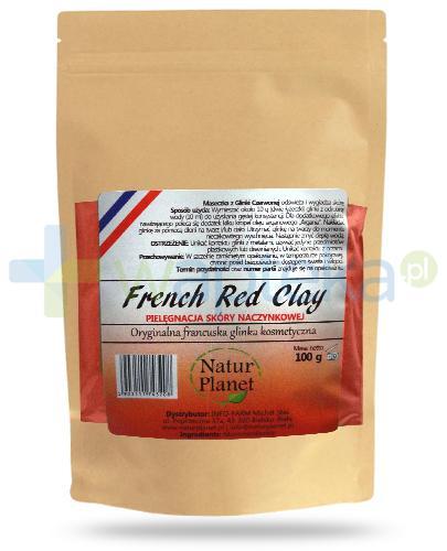 Natur Planet French Red Clay francuska czerwona glinka kosmetyczna do skóry naczynkowej, proszek 100 g