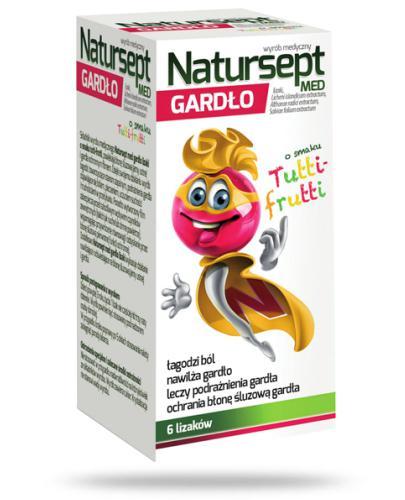 NaturSept Med Gardło lizaki o smaku tutti frutti 6 sztuk