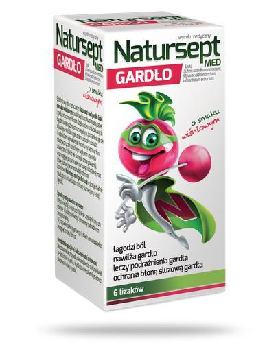 NaturSept Med Gardło lizaki o smaku wiśniowym 6 sztuk