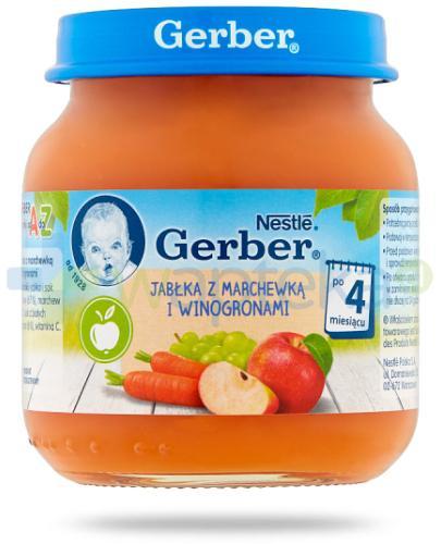 Nestlé Gerber Deserek Jabłka z marchewką i winogronami po 4 miesiącu 125 g