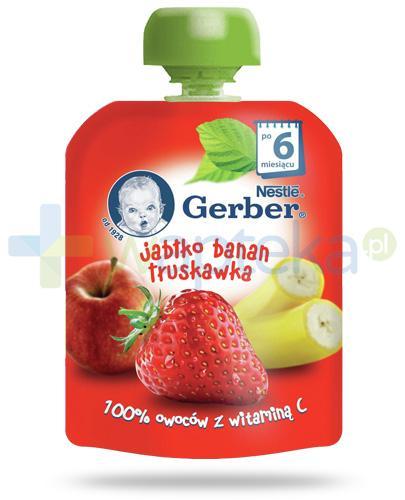 Nestlé Gerber Jabłko, banan, truskawka deserek owocowy z witaminą C dla dzieci 6m+ 90 g [KUP 4 sztuki produktu = łyżeczka GRATIS]