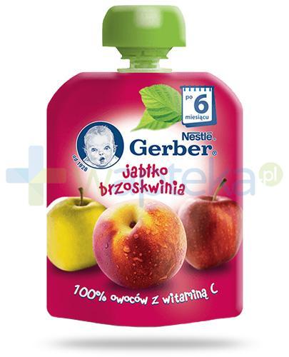 Nestlé Gerber Jabłko, brzoskwinia deserek owocowy z witaminą C dla dzieci 6m+ 90 g [KUP 4 sztuki produktu = łyżeczka GRATIS]