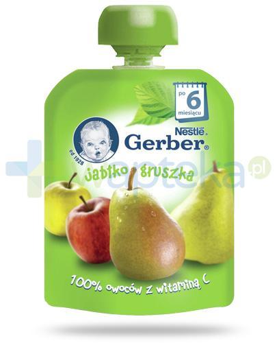 Nestlé Gerber Jabłko, gruszka deserek owocowy z witaminą C dla dzieci 6m+ 90 g [KUP 4 sztuki produktu = łyżeczka GRATIS] [Data ważności 31-01-2019]
