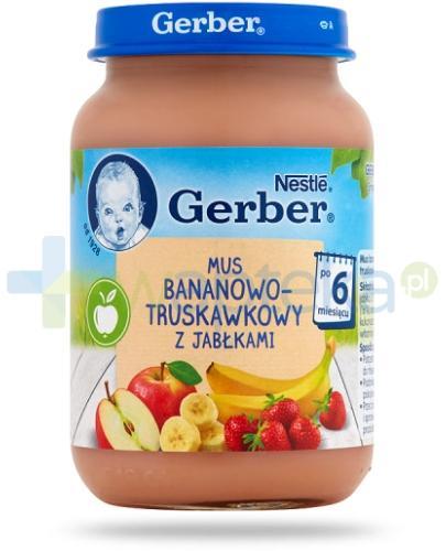 Nestlé Gerber Mus bananowo-truskawkowy z jabłkami po 6 miesiącu 190 g