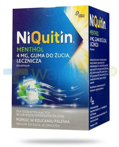 NiQuitin Menthol 4mg lecznicza guma do żucia 100 sztuk