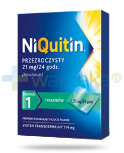 NiQuitin System transdermalny 21mg stopień 1 21mg/24h plastry przezroczyste 7 sztuk