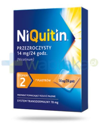 NiQuitin System transdermalny 14mg stopień 2 14mg/24h plastry przezroczyste 7 sztuk